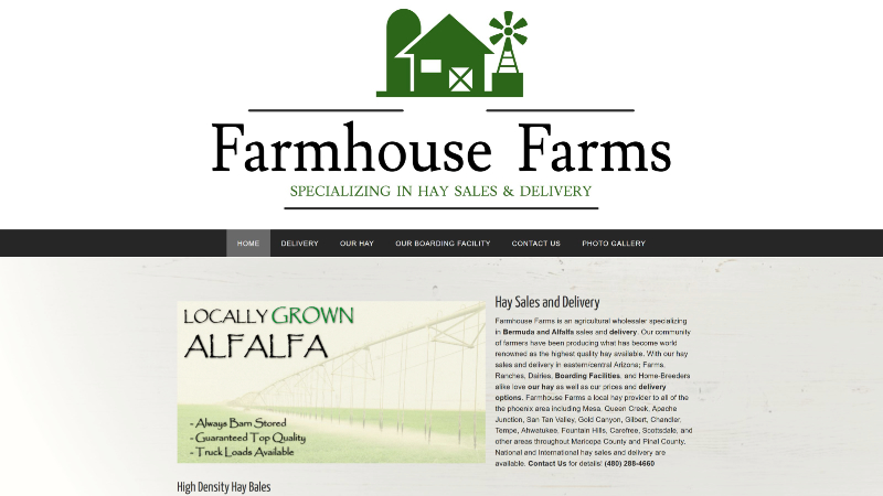 Fox IT Concepts - Website design and management | Farmhouse Farms' Home page capture